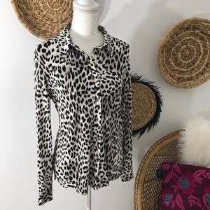 Calvin Klein • Animal Print Button Front Blouse
